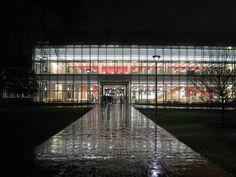 Cambridge Public Library at night
