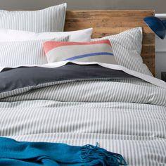 Ticking Stripe Duvet Cover + Shams - Graphite