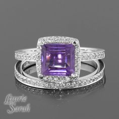 Princess Cut Amethyst Engagement Ring and by LaurieSarahDesigns