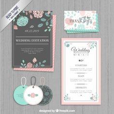 Wedding invitation, labels and menu