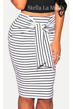 $19.99 White Fashion Stripes Self-tie Midi Skirt