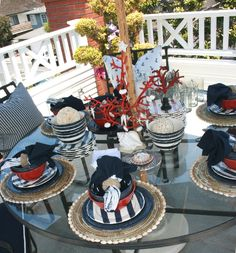 outdoor deck table set up by Barclay Butera.