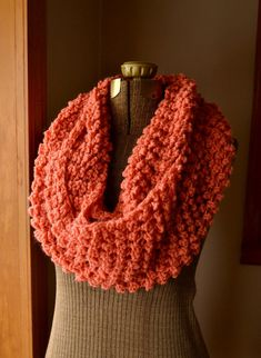 Infinity Scarf Long Circle Cowl Scarf in Salmon by LazyTcrochet
