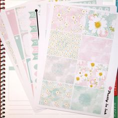 Daisy Erin Condren Planner Stickers Weekly Kit Pastel Daisies Glossy or matte stickers