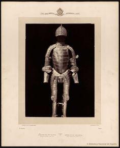 Armadura del rey Felipe II. Hecha en Augusta, 1549 a 1550. Laurent, J. 1816-1886 — Fotografía — 1868