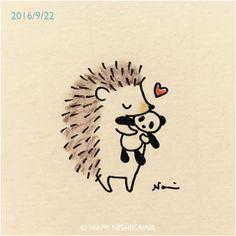 Hedgehogs love Pandas too! Hedgehog Drawing, Hedgehog Art, Cute Hedgehog, Hedgehog Illustration, Illustration Art, Cute Animal Drawings, Cute Doodles, Doodle Art, Easy Drawings