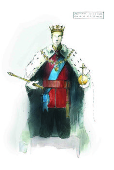 A costume sketch for King Charles III by 2016 Tony-nominated designer Tom Scutt. Best Costume Design, Tony Award Winners, Scenic Design, King Charles, First Night, Theater, Photo Galleries, Stage, Wings