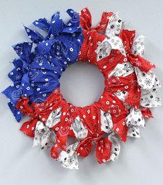 Bandana Flag Wreath – Make It Flag Wreath, Patriotic Wreath, Patriotic Crafts, 4th Of July Wreath, Wreath Crafts, Diy Wreath, Wreath Ideas, Wreath Making, Bandana Crafts