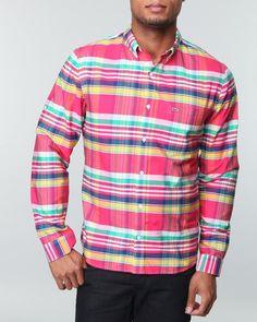 ffdad652d7e28 IndiaViolet Shop  Lacoste Live Men L s Madras Print Poplin Shirt -  Shirts, 89.99
