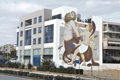 "Fikos Antonios for ""ArtWalk"" festival in Patras, Greece, 2018 Graffiti Wall Art, Art Festival, Public Art, Simply Beautiful, Greece, Street Art, Urban, City, Patras"