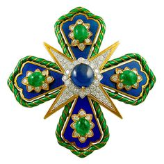 "Sapphire, emerald, émail and diamond ""Maltese cross"" brooch, by David Webb David Webb, Enamel Jewelry, Antique Jewelry, Vintage Jewelry, Fine Jewelry, Crystal Jewelry, Jewelry Art, Jewelry Ideas, Silver Jewelry"