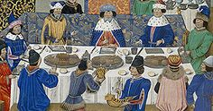 A king feasts with his dukes, Royal 14 E IV f.265v, late 15th century