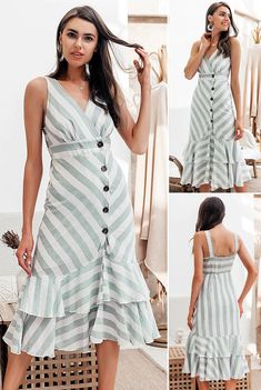 Simplee Vintage striped women long dress summer V neck buttons ruffle linen dresses – Christmas Fashion Trends Simple Fall Outfits, Casual Summer Outfits, Casual Dresses, Linen Dresses, Cotton Dresses, Dresses Dresses, Long Summer Dresses, Dress Summer, Summer Clothes
