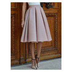 Champagne High Waist Pleated Flare Skirt (£17) ❤ liked on Polyvore featuring skirts, high waisted skater skirt, champagne skirt, off white skirt, high waisted circle skirt and high waisted flared skirts
