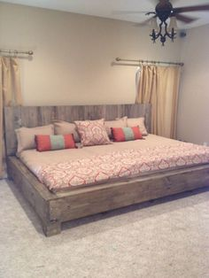 Custom Made Pallet Bed . this is on Etsy made out of pallets for the headboard and wood for the bed frame but you could make this yourself . Home Bedroom, Master Bedroom, Bedroom Decor, Bedrooms, Bedroom Ideas, Bed Ideas, Budget Bedroom, King Bedroom, Bedroom Storage