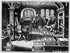 Ilustración de una sala de imprenta. Siglo XV