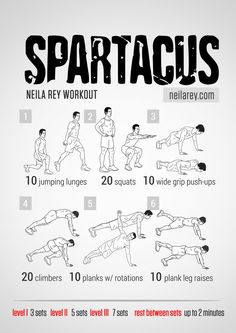 Spartacus Workout What it works: lateral abs core glutes shoulders triceps chest quads front hip flexors. Hero Workouts, Running Workouts, At Home Workouts, Neila Rey Workout, Mma Workout, Boxe Fitness, Superhero Workout, Spartacus Workout, Weights For Beginners