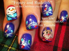Nail-art by Robin Moses - Frosty and Rudolph!