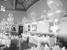 white balloon party decor---I like the table swag above and on the table