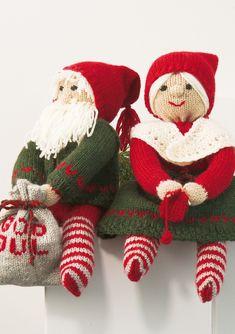 sittende nissepar pattern by Sandnes Design Christmas Mason Jars, Diy Christmas Ornaments, Christmas Crafts, Newspaper Crafts, Easy Paper Crafts, Christmas Tree Collection, Christmas Knitting Patterns, Knitted Dolls, Wrapping Ideas