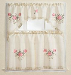 3pc Beige with Embroidered Gold Floral and Pink Rose Kitchen/cafe ...