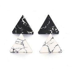 2cm New Brand 2016 Trendy Fashion Punk Man-Made Faux White Black Geometric Simple Marble Stone Triangle Stud Earrings for Women