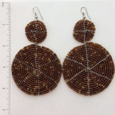 Coffee brown kenya masai 2 disc beaded earrings