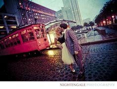 Rainy San Francisco Engagement photo  Nightingale Photography