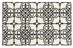 Rugs - Elegant Moroccan tile rug in a white and black geometric pattern. Moroccan Print, Moroccan Pattern, Black White Rug, White Rugs, Brick And Wood, Geometric Rug, Mosaic Designs, Black Decor, Prints