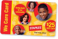 Staples Donation Request - Donates gift cards to nonprofit groups for fundraising