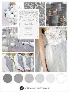Looking for a timeless traditional wedding theme? These grey wedding colors are ultra romantic. Perfect for a chic evening wedding at any time of the year! Silver Wedding Colours, Grey Wedding Theme, Wedding Color Schemes, Wedding Themes, Wedding Styles, Dream Wedding, Wedding Day, Silver Wedding Decorations, Wedding Shot