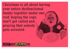 Christmas is all about having your entire dysfunctional family together under one roof, hoping the cops don't get called and praying that nobody gets arrested. Funny Picture Quotes, Funny Quotes, Funny Pictures, Bitch Quotes, Funny Pics, Best Funny Jokes, You Funny, Funny Stuff, Christmas Quotes