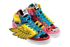 Adidas Jeremy Scott Wings GS - Chaussure Adidas Pas Cher Pour Femme/Enfant Jaune/Bleu/Rose
