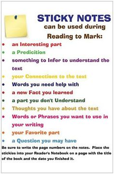 Sticky notes have a variety of uses in the classroom.  As seen on this chart, they can be used to facilitate students' reading fluency.  Not only will it help them to read quicker, but it can help students become more efficient readers.  These notes allow students to revisit key ideas covered in a book, ask questions, and even help them to organize the characters in the book.