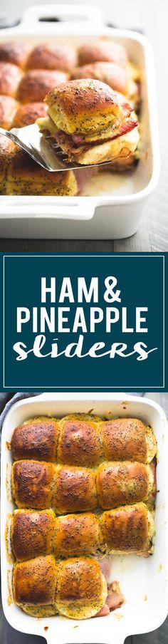 Hot Hawaiian Ham & Swiss Cheese Sliders with pineapple and brown sugar dijon poppyseed sauce are seriously addictive!!! | http://lecremedelacrumb.com