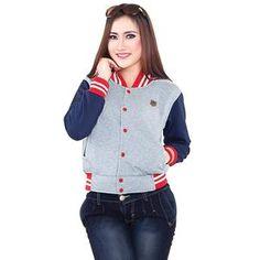 Jaket Wanita Casual Warna Abu Navy Bahan Fleece [SLC 611] (Brand Inficlo) Produk Indonesia