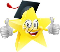 iCLIPART - Cartoon clip art star mascot with a graduates mortarboard cap on giving a thumbs up