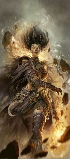 Druid using Elemental Magic. Probably by Dave Rapoza. Difficult to find original source. https://daotyr.files.wordpress.com/2013/06/magda.jpg