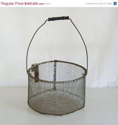 On Sale Antique wire farm basket egg carrier with hook on Etsy, $36.00
