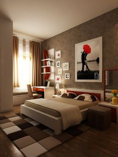Fresh and Classy Bedrooms - Red Brown White Cozy Futuristic Bedroom Layout