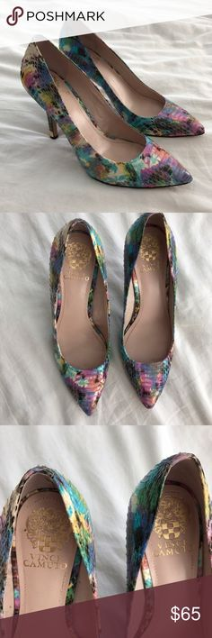 "Vince Camuto pastel snake skin pointed pumps sz 9 Worn once, too high for me and a little small. Size 9 but probably better suited to an 8.5. No signs of wear. 4"" heel. Vince Camuto Shoes Heels"