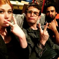 Kat, Simon and Joel on set