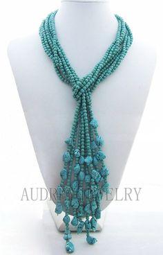 chapelet de perles collier collier bavoir, déclaration, de collier, collier de perles, turquoise collier avec Turquoise