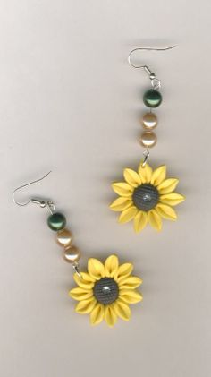 CHEAPLY PRICED. $7.55. FREE NECKLACE WITH EVERY PURCHASE! Silver-Plated / Stainless Steel / Glass Pearl Earrings with Smooth Polymer Clay Flower Pendants.  Genuine Czech Rhinestone in centre of flowers.  https://www.etsy.com/ca/shop/JehovahJJewellery?ref=si_shop