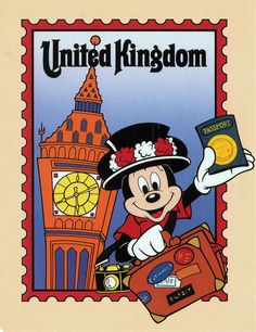 Mickey at United Kingdom, EPOCT, postcard by starberryshyne, via Flickr