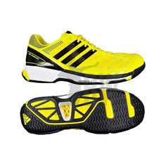 From the makers of the best athletic shoes comes the Sleek Adidas BT Feather badminton shoes. Get yours at Badminton Warehouse. Adidas Shoes Outlet, Adidas Sneakers, Shoes Sneakers, Badminton Shirt, Yellow Adidas, Size 6 Women, Black N Yellow, Black Shoes, Beautiful