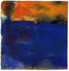 Emil Nolde. Blue Sea, Sailboat and Two Steamships
