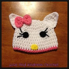 Hello Kitty Hat/Beanie - Comes in ALL sizes and with/without earflaps and tassels - With earflaps and tassels: 0-2yrs $15, 3-10yrs $20, 11yrs+ $25 and without is $5 less for each age group - Shipping is $5 and I ship anywhere in the contiguous US!