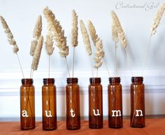 Amber Bottles from thrift store + White Adhesive Letters = DIY Centsational Autumn Decor. ;)