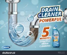 Drain cleaner ads, before and after effect in drain pipe, realistic detergent bottle isolated on blue background in illustration Detergent Bottles, Laundry Detergent, Medicine Packaging, Drain Cleaner, Photoshop, Natural Cleaning Products, Social Media Design, Blue Backgrounds, Stains